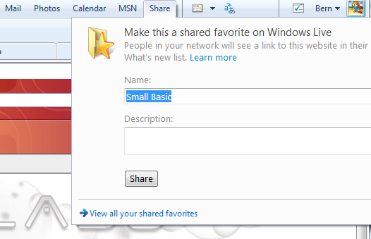 Share button on Live Toolbar