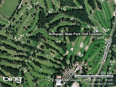 Bethpage State Park Golf Courses. US Open is playing on the Black Course.