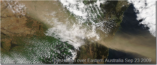 Satellite photo of dust storm over Eastern Australia Sep 23 2009