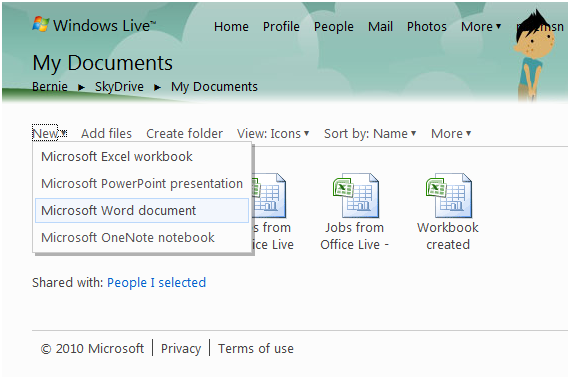 Our file is saved automatically when we return to our Skydrive My Documents folder