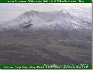 Mt St Helens smouldering in 2004